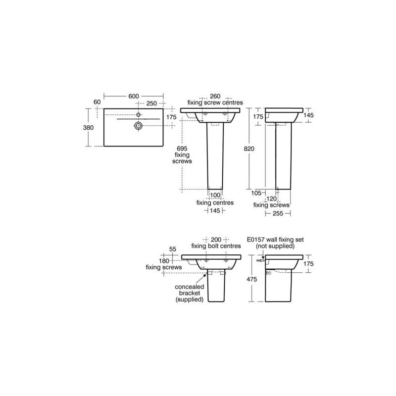 Ideal Standard Concept Space 60cm Basin Left Hand E1338