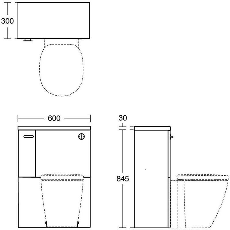 Ideal Standard Concept Space 600mm WC Unit LH E1437 Walnut