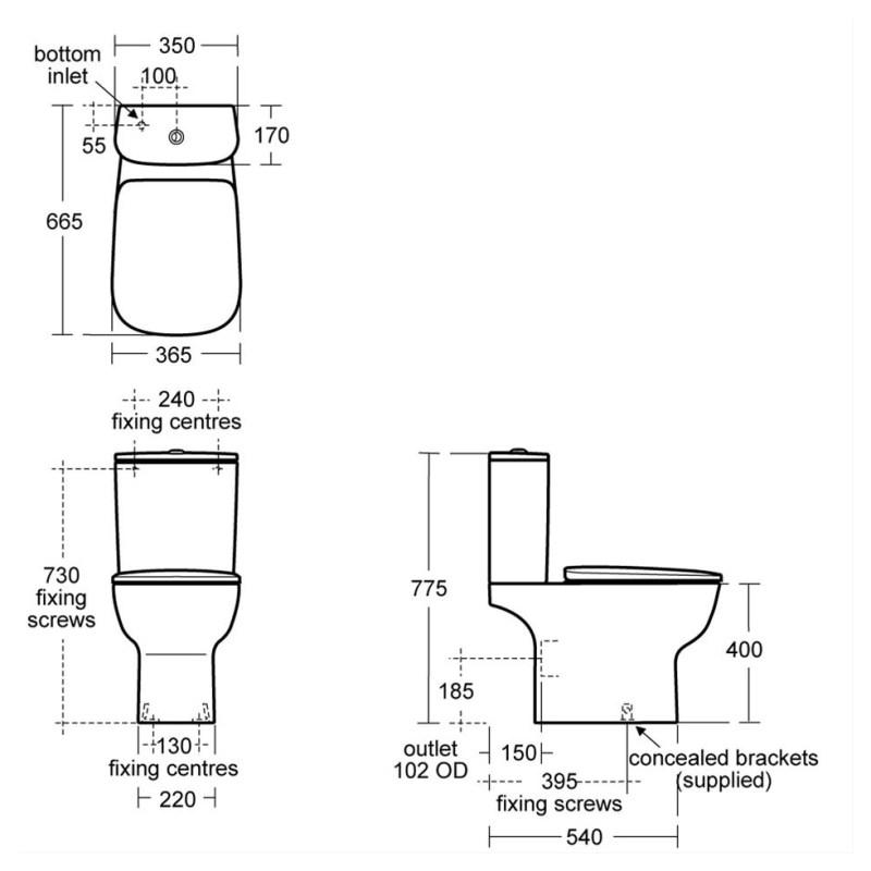 Ideal Standard Studio Echo Close Coupled WC Pan E1587