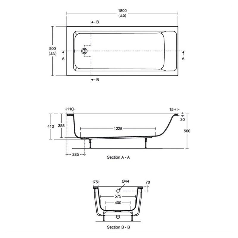 Ideal Standard Concept Air 180x80cm Bath No Tapholes E1639