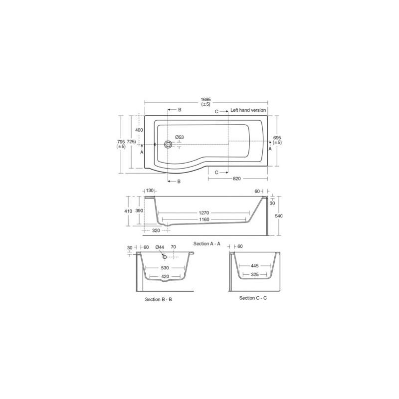 Ideal Standard Tempo Arc 170cm Shower Bath Left Hand E2568