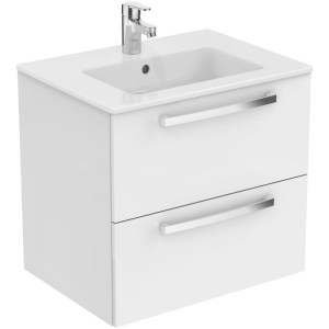 Ideal Standard Tempo 600mm 2 Drawer White Wall Vanity Unit & Basin