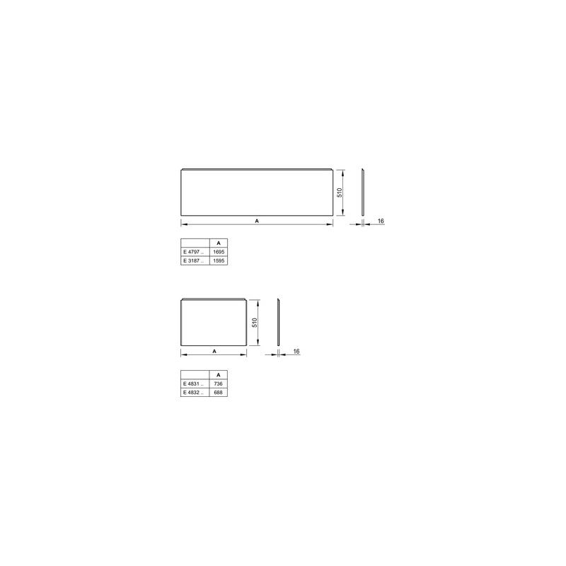Ideal Standard Unilux Plus  75cm Front Bath Panel E4832