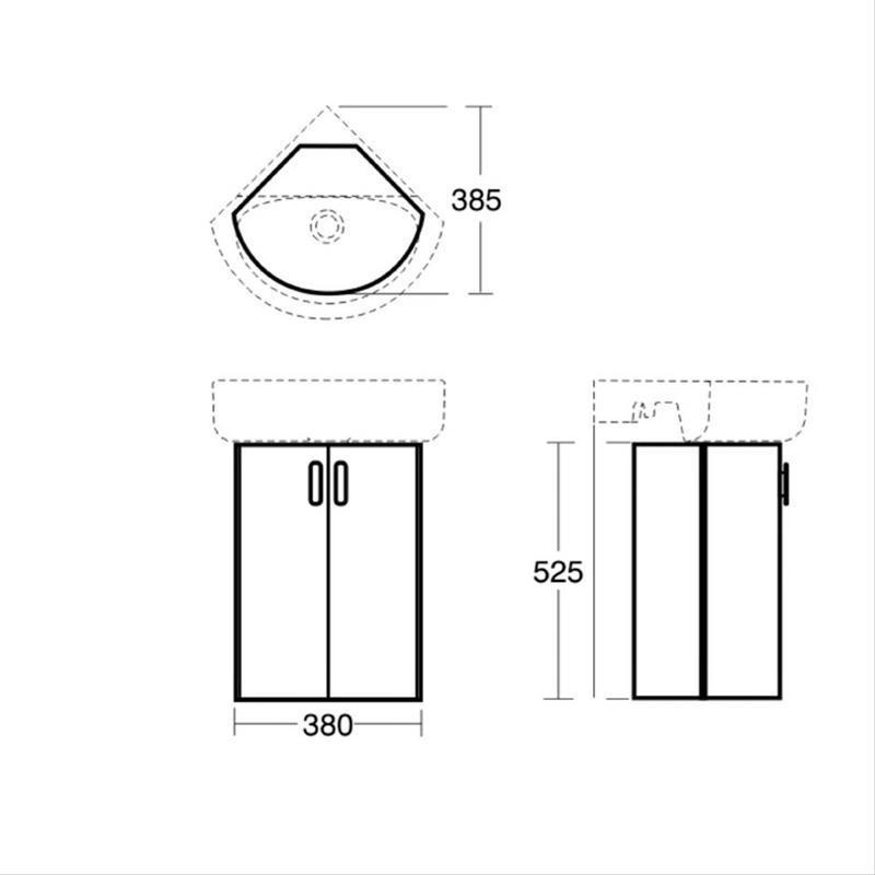 Ideal Standard Concept Wall Hung Corner Unit E6848 Elm
