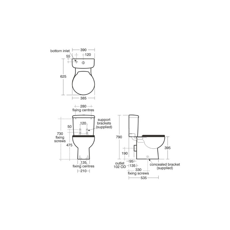 Ideal Standard Space Toilet Seat & Cover E7091