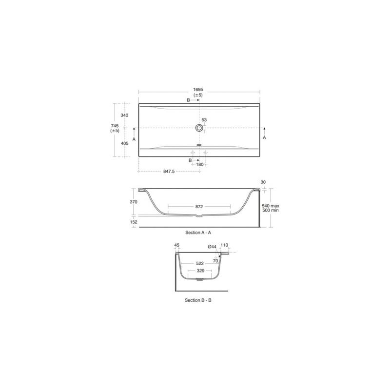 Ideal Standard Concept 170x75cm Double Ended Bath 2 Tapholes