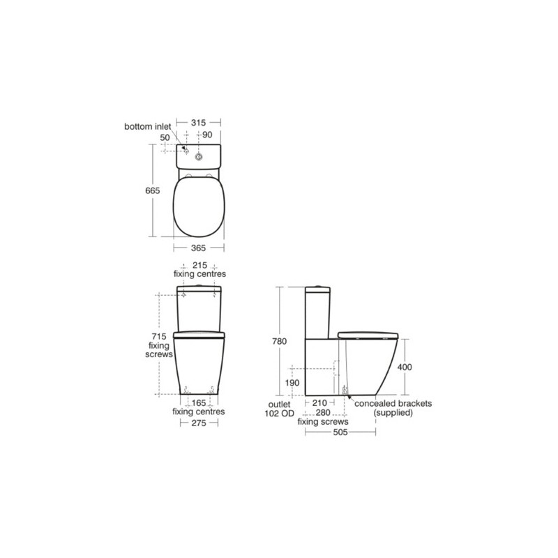 Ideal Standard Concept Cube Back To Wall Toilet with Slow Close Seat