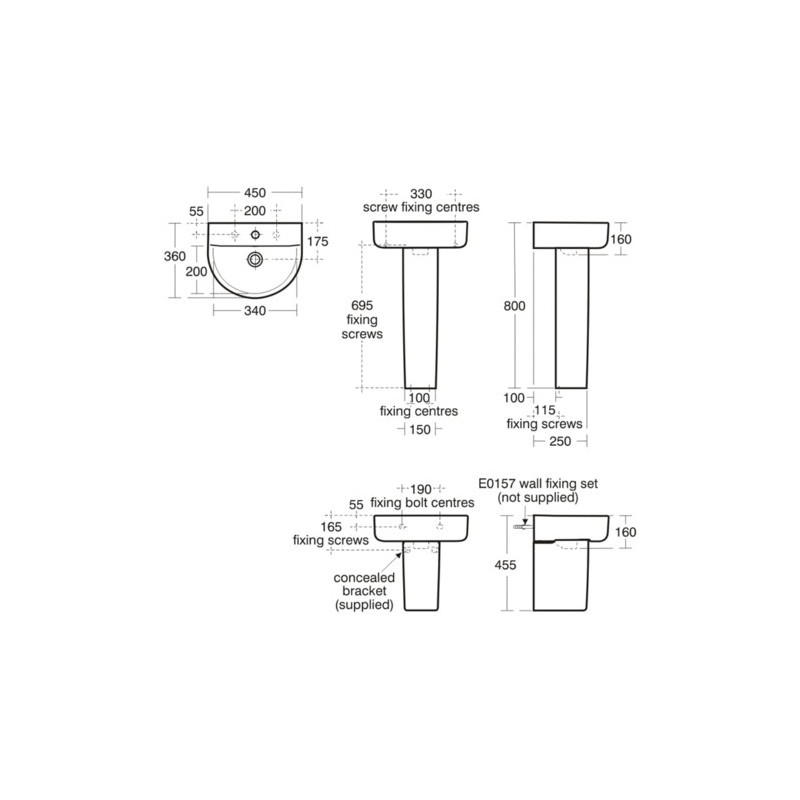 Ideal Standard Concept Arc 45cm Handrinse Washbasin 1 Taphole