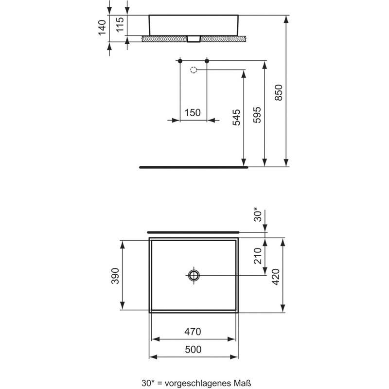 Ideal Standard Strada 50cm Vessel Basin No Tapholes K0776