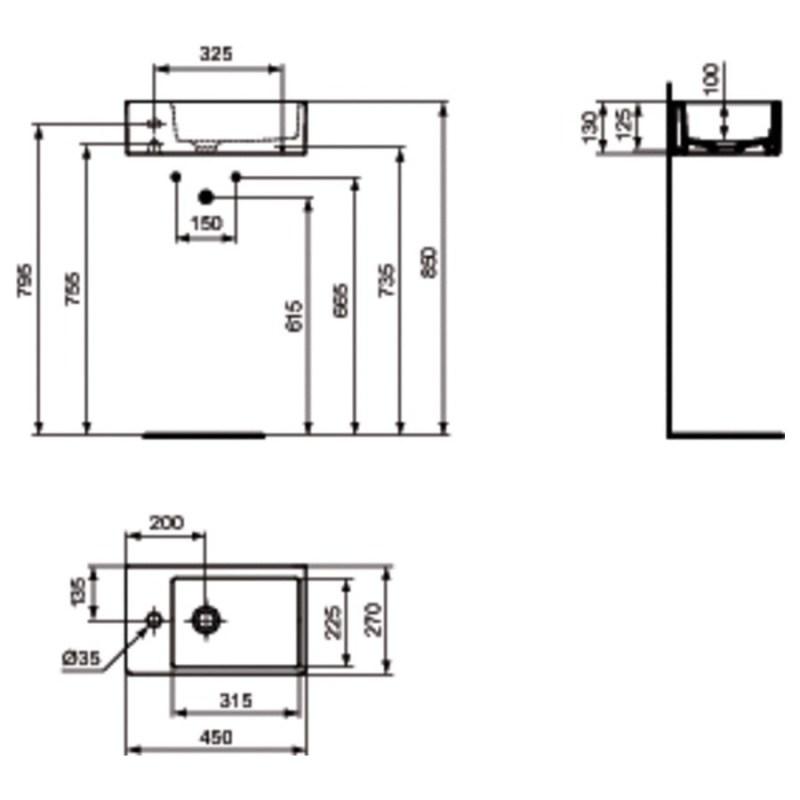 Ideal Standard Strada 45cm Handrinse Basin K0817