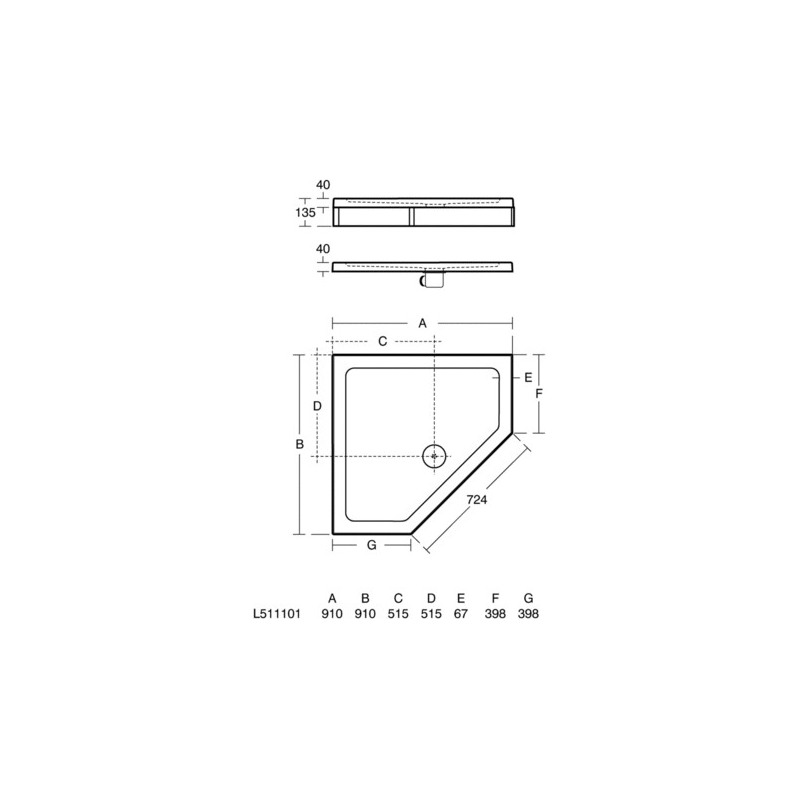 Ideal Standard Simplicity 900mm Pentagon Tray Flat Top L5111