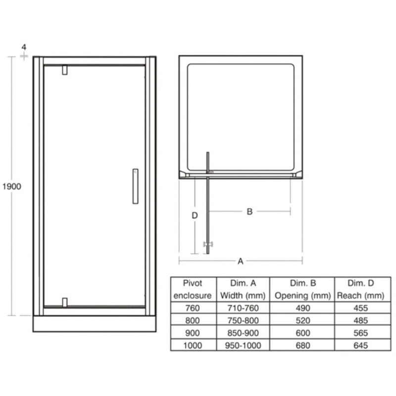 Ideal Standard Synergy 900mm Pivot Door L6203 Bright Silver
