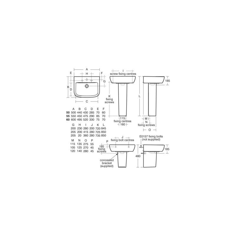 Ideal Standard Tempo 60cm Washbasin 2 Tapholes T0585