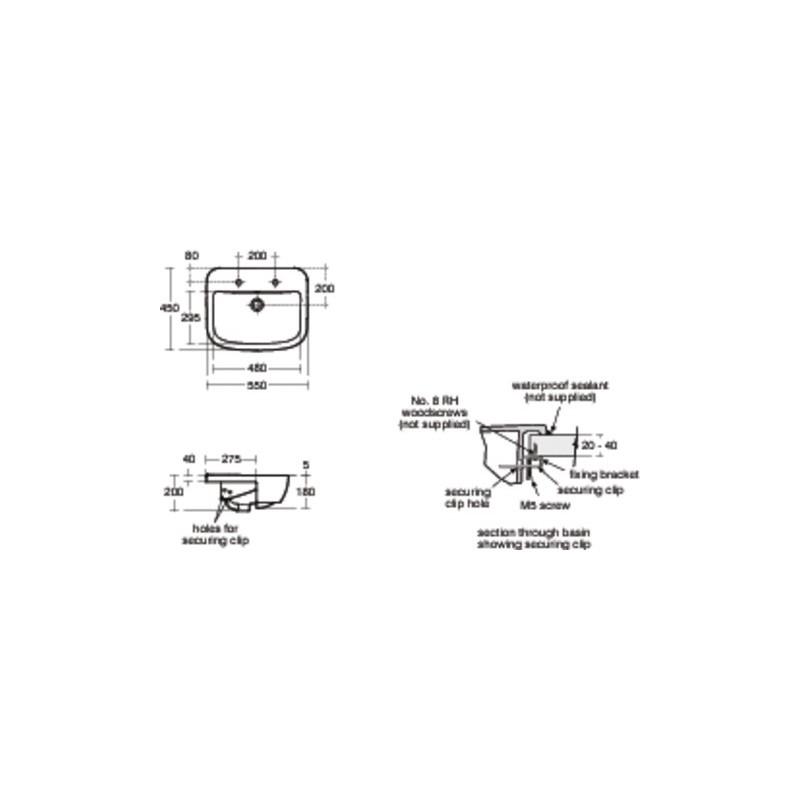 Ideal Standard Tempo 55cm Semi Countertop Basin 2 Tapholes T0591