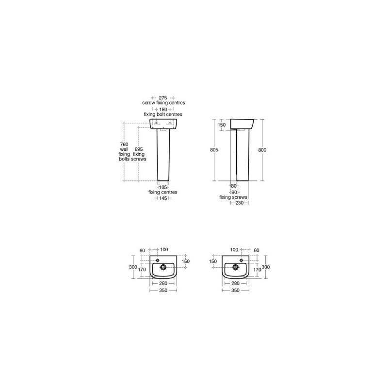 Ideal Standard Tempo 35cm Handrinse Basin 2 Tapholes T0596
