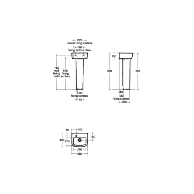 Ideal Standard Tempo Handrinse Pedestal T4272