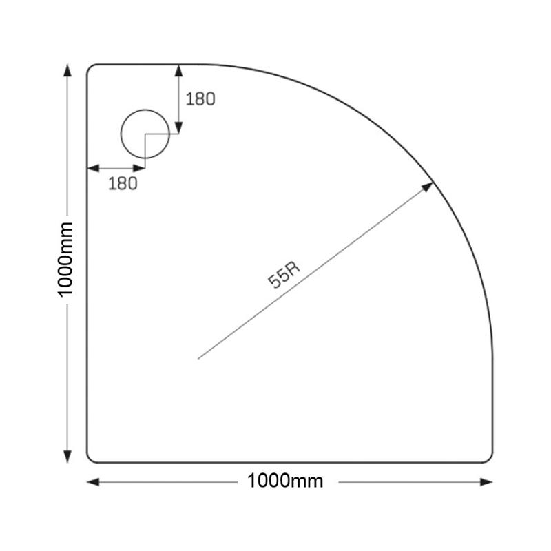 Just Trays Merlin 1000mm Quadrant Tray 2 Upstands Anti-Slip