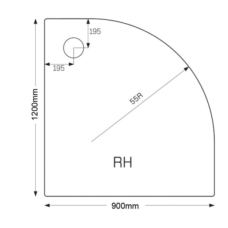 Just Trays Ultracast 1200x900mm RH Quadrant Tray Anti-Slip