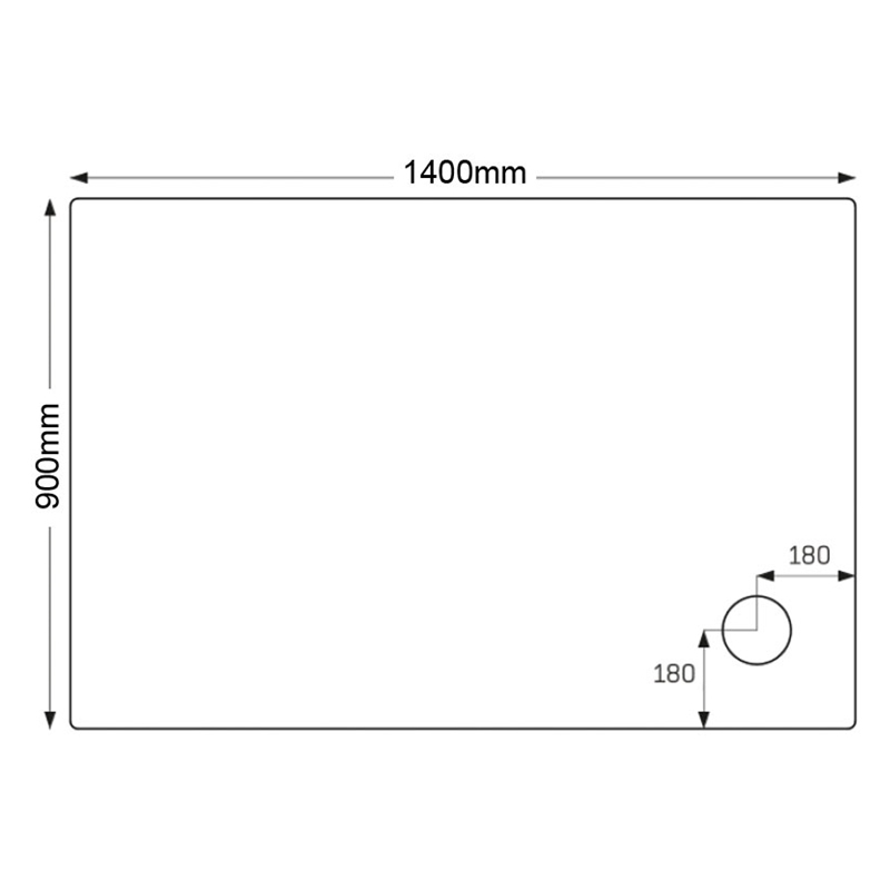 Just Trays Merlin 1400x900mm Shower Tray Anti-Slip 4 Upstands