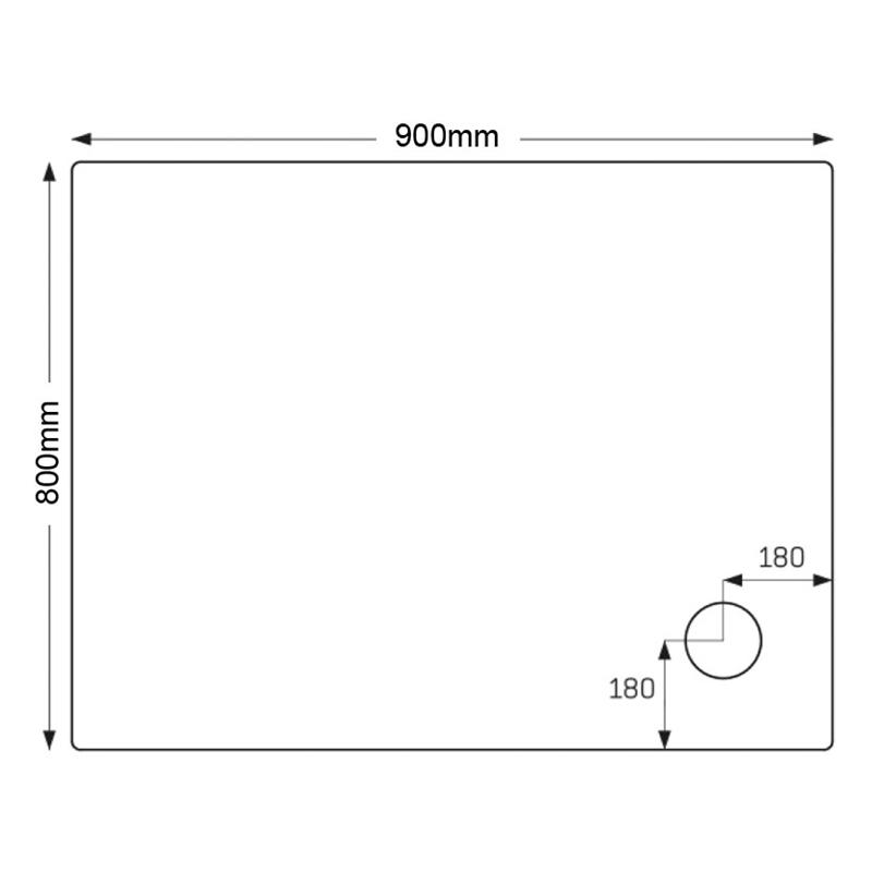 Just Trays Ultracast 900x800mm Shower Tray 4 Upstands Anti-Slip