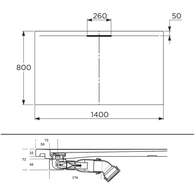 Just Trays Evolved Anti-Slip 1400x800mm Rectangular Shower Tray