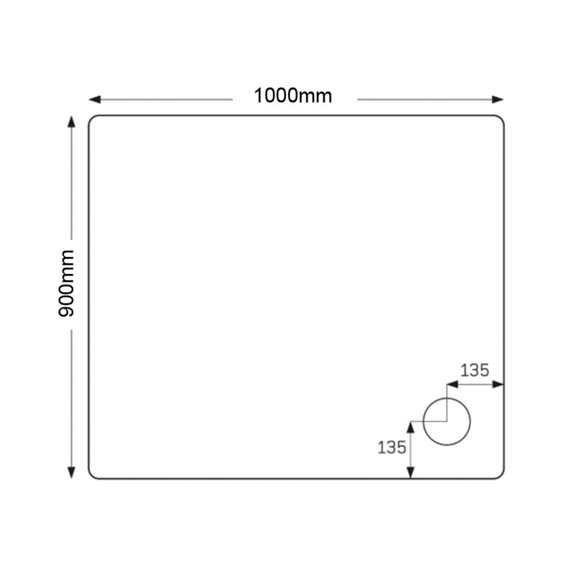Just Trays Fusion 1000x900mm Shower Tray 4 Upstands Anti-Slip