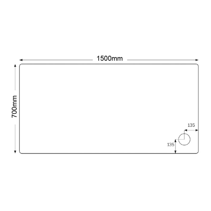 Just Trays Fusion 1500x700mm Shower Tray 4 Upstands Anti-Slip