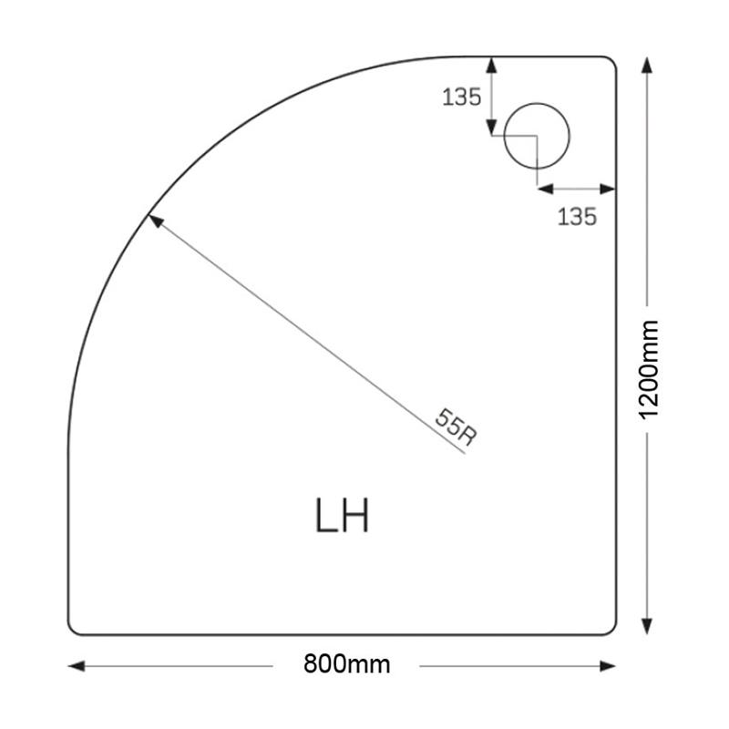 Just Trays Fusion 1200x800mm Offset Quadrant LH Tray