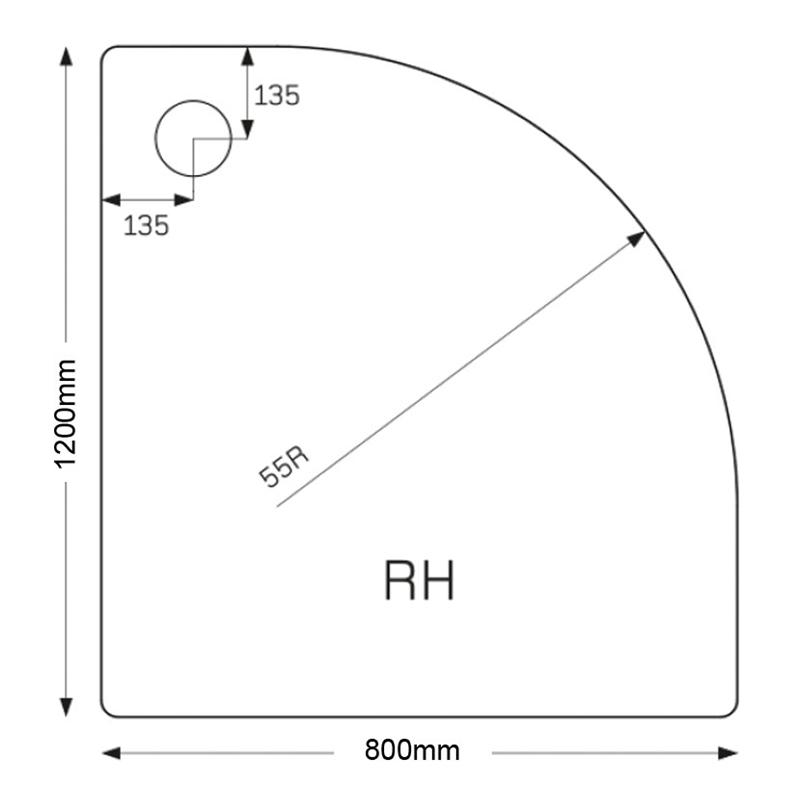 Just Trays Fusion 1200x800mm Offset Quadrant RH Tray