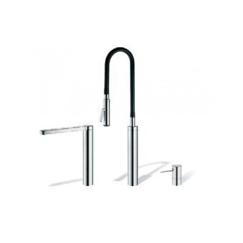 KWC Ono Highflex 3 Hole Sink Mixer with Flexible Spray Chrome