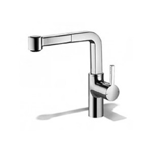 KWC Ava Mono Sink Mixer with Pull-Out Spray Decor Steel