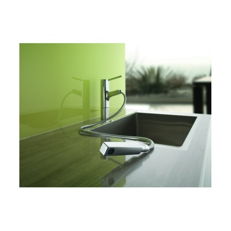 KWC Ava Mono Sink Mixer with Pull-Out Spout Decor Steel