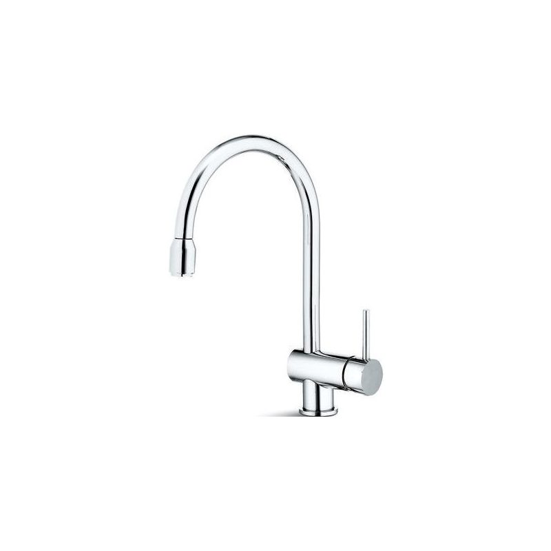 Newform X-T Mono Sink Mixer with Pull-Out Brushed Steel
