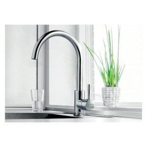 Newform X-Trend Mono Sink Mixer with Swivel Spout Brushed Steel