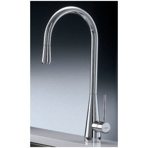 Newform Ycon Mono Sink Mixer with Pull-Out Rinse Brushed Steel