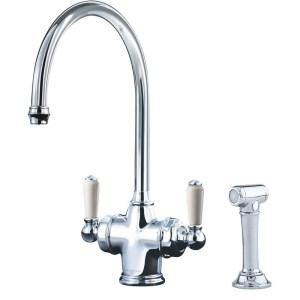 Perrin & Rowe Parthian Dual Sink Mixer Filtration & Rinse Chrome