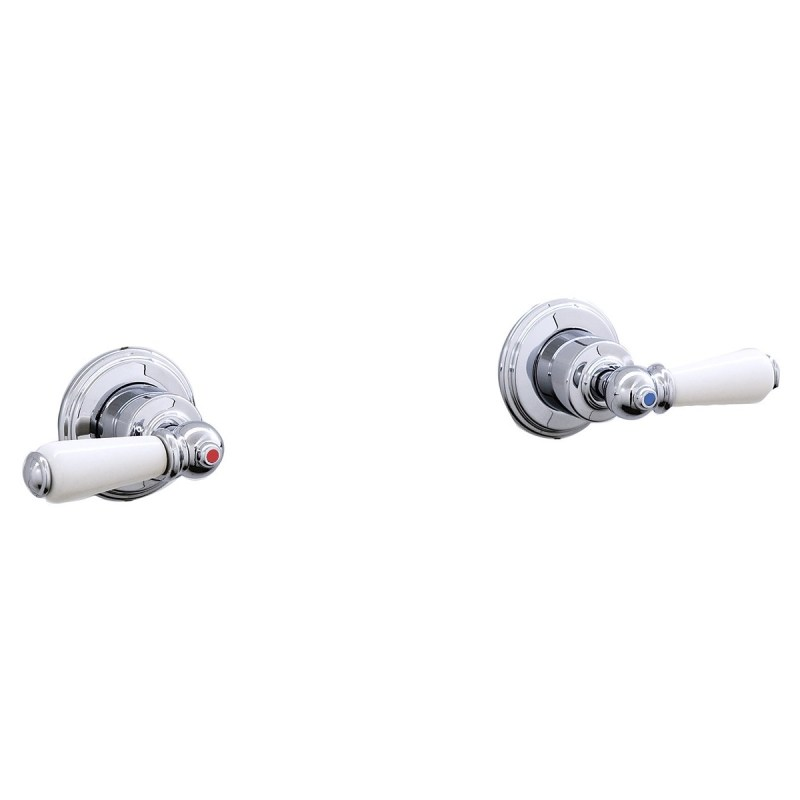 """Perrin & Rowe Pair of 3/4"""" Wall Valves with Lever Handles Gold"""
