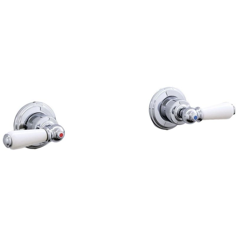 """Perrin & Rowe Pair of 3/4"""" Wall Valves with Lever Handles Pewter"""