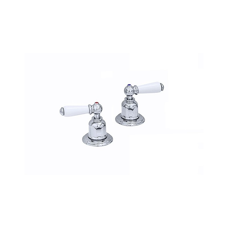 """Perrin & Rowe Pair of 3/4"""" Deck Valves with Lever Handles Gold"""