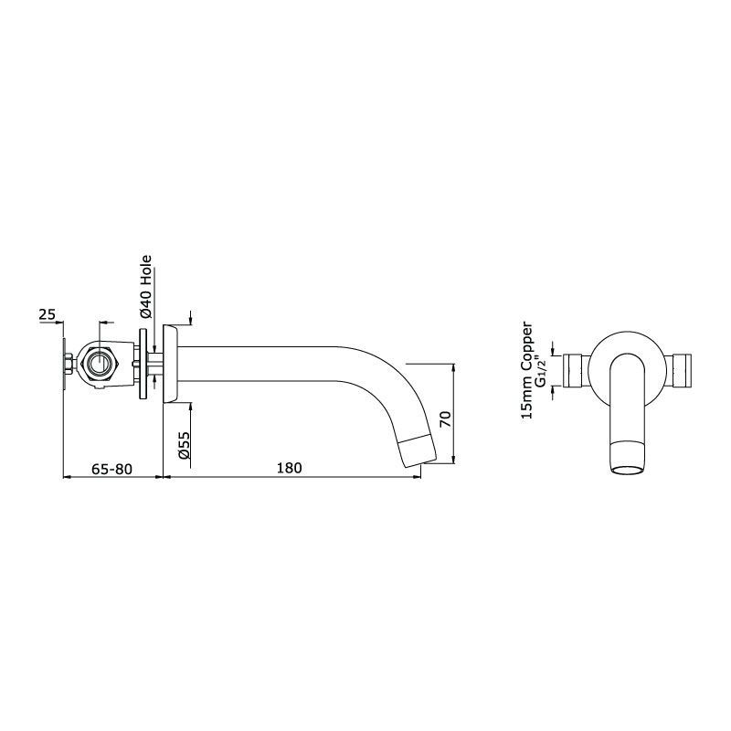 Perrin & Rowe Contemporary Wall Mounted Basin Spout