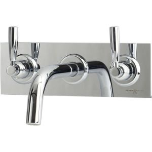 Perrin & Rowe Contemporary Wall Basin Set on Back Plate Pewter