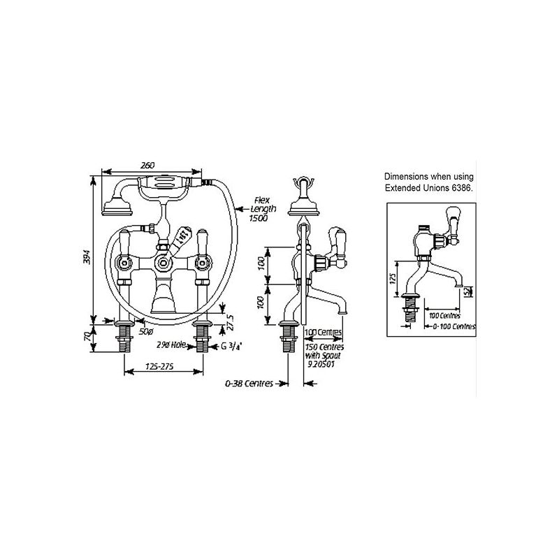 Perrin & Rowe Traditional Bath Shower Mixer & Pillar Unions, Lever