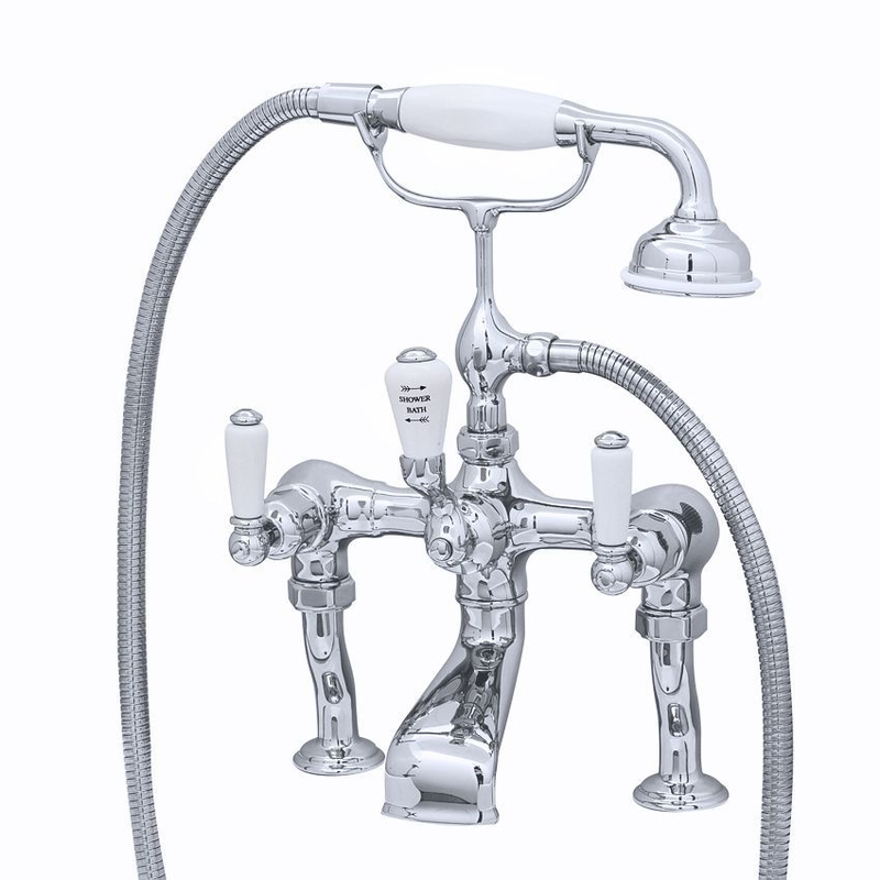 Perrin & Rowe Traditional Lever Bath Shower Mixer Pewter