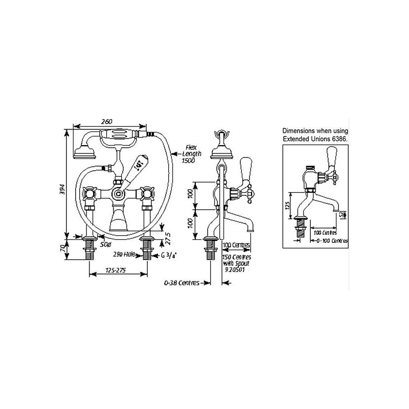 Perrin & Rowe Traditional Bath Shower Mixer & Pillar Unions, Cross