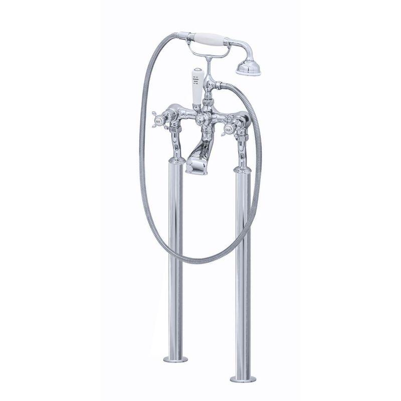 Perrin & Rowe Traditional Crosstop Floor Bath Shower Mixer Pewter
