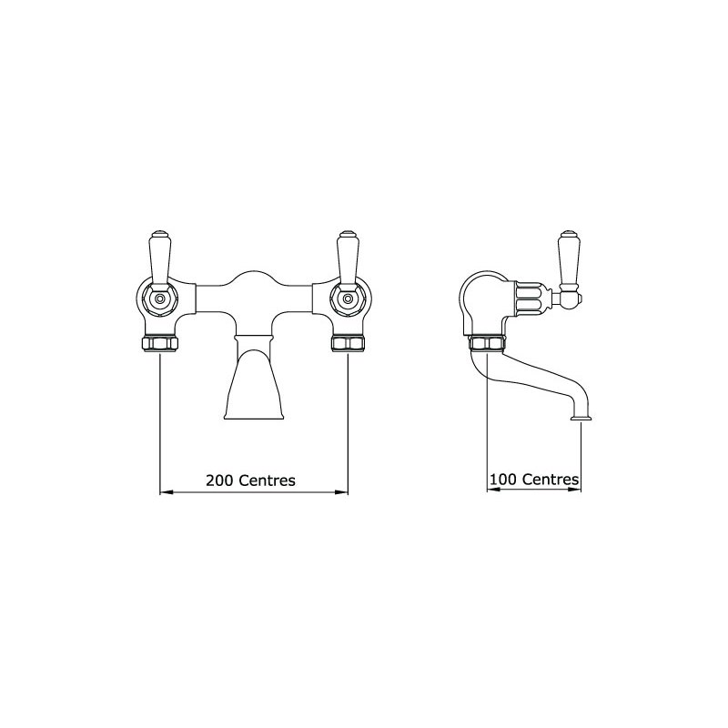 Perrin & Rowe Traditional Bath Filler without Unions, Lever
