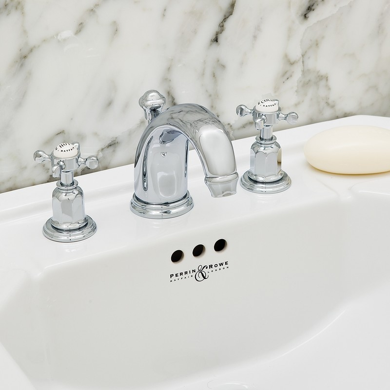 Perrin & Rowe 3 Hole Crosshead Basin Set High Neck Spout Gold