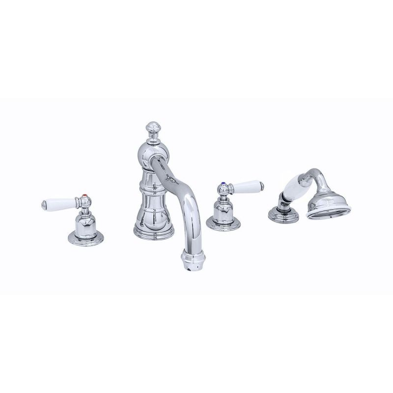 Perrin & Rowe 4 Hole Lever Bath Mixer Country Spout Chrome