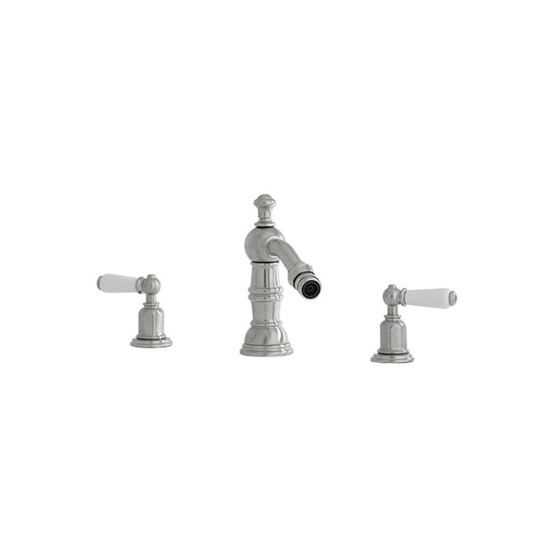 Perrin & Rowe 3 Hole Lever Bidet Mixer with Country Spout Pewter
