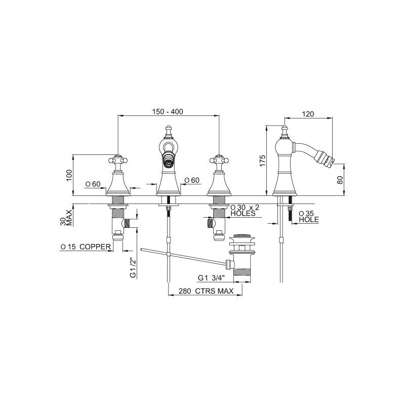 Perrin & Rowe Georgian 3768 3 Hole Bidet Mixer with Cross Handles
